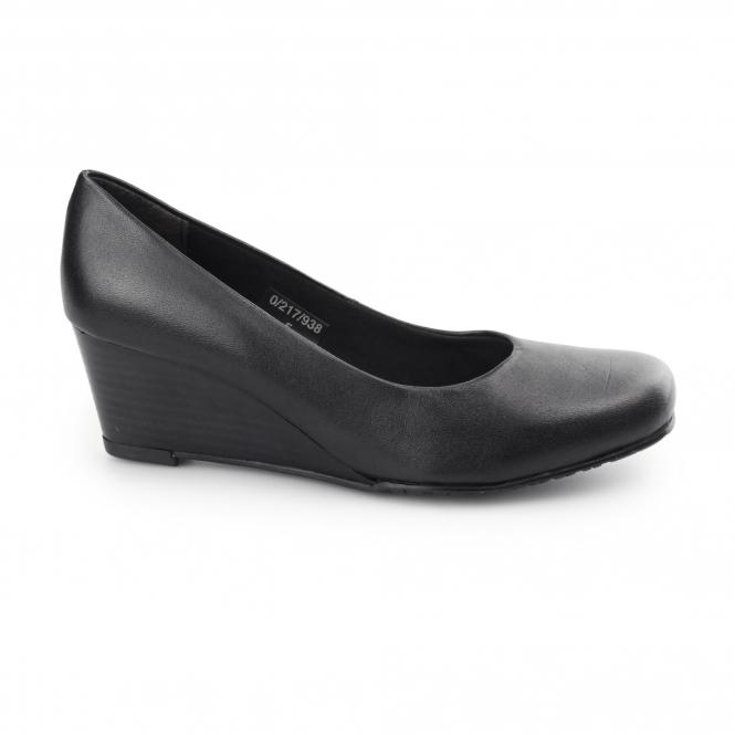 7267db208ef3f5 Comfort Plus MARGO Ladies Leather Wide Wedge Heels Black | Shuperb