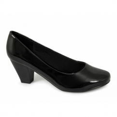 PAULA Ladies Wide Fit Mid Heel Court Shoes Patent Black