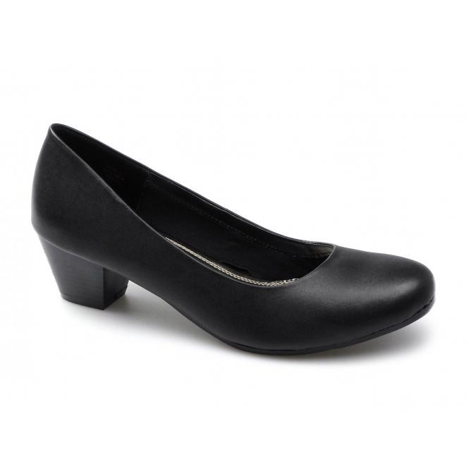 Comfort Plus Womens Ladies Slip On Block Heels Shoes Black  d9e7166410