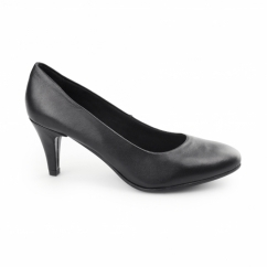 SAFRON Ladies Leather Wide Fit Court Heels Black