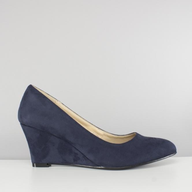 35050c8d560 Comfort Plus SAVANNAH Ladies Womens Wedge Court Shoes Navy