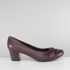 SHARON Ladies Sash Wide Fit Court Shoes Burgundy