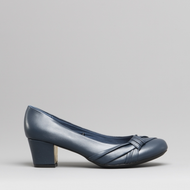 new list various styles authentic SHARON Ladies Wide Fit Court Shoes Navy