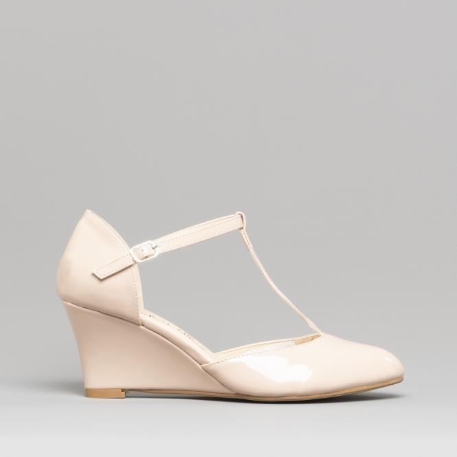 108a0373b739b2 Comfort Plus SISSY Ladies Wide Fit Wedge Heel Shoes Beige | Shuperb