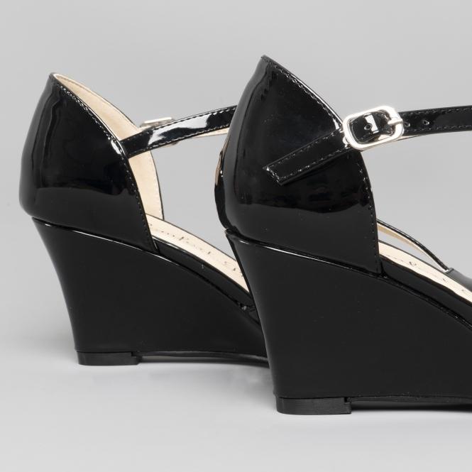 39ba4f8f35bbf7 Comfort Plus SISSY Ladies Wide Fit Wedge Heel Shoes Black | Shuperb