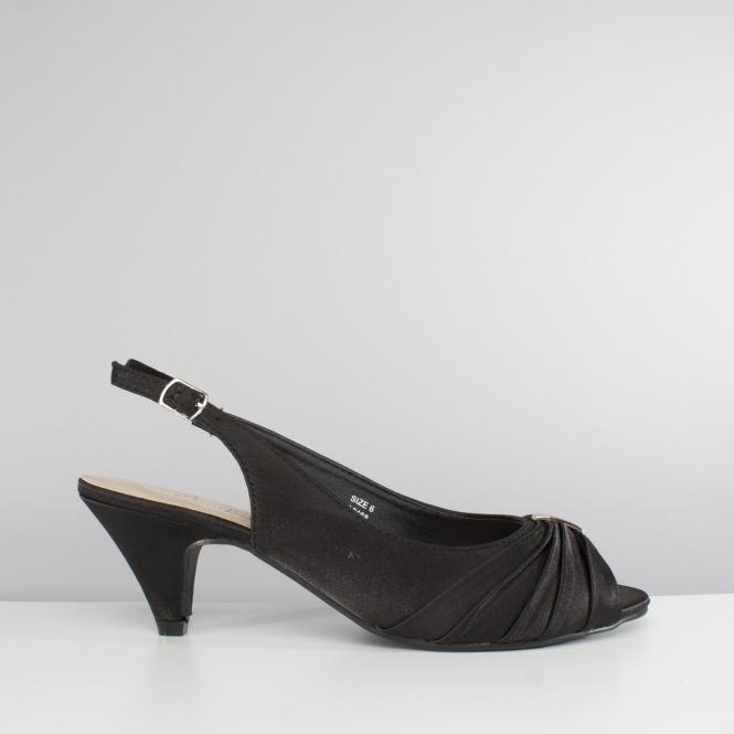 1fbef103d72 Comfort Plus TESS Ladies Wide Slingback Satin Shoes Black