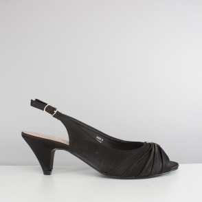 TESS Ladies Wide E Fit Slingback Satin Shoes Black. Comfort Plus TESS Ladies  ...