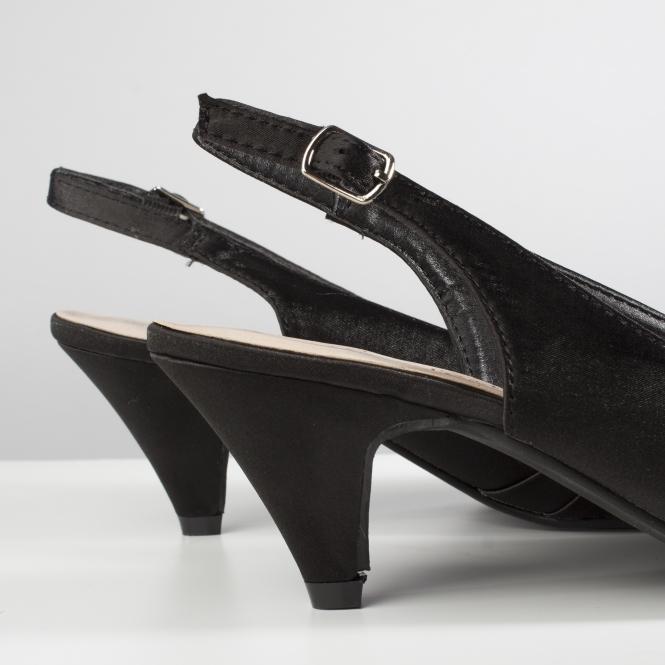 Comfort Plus TESS Ladies Womens Formal Wide E Fit Slingback Satin Shoes Black