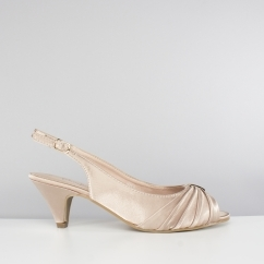TESS Ladies Wide E Fit Slingback Satin Shoes Nude