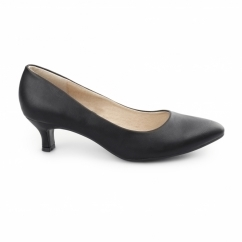 TEXAS Ladies Kitten Heel Court Shoes Matte Black