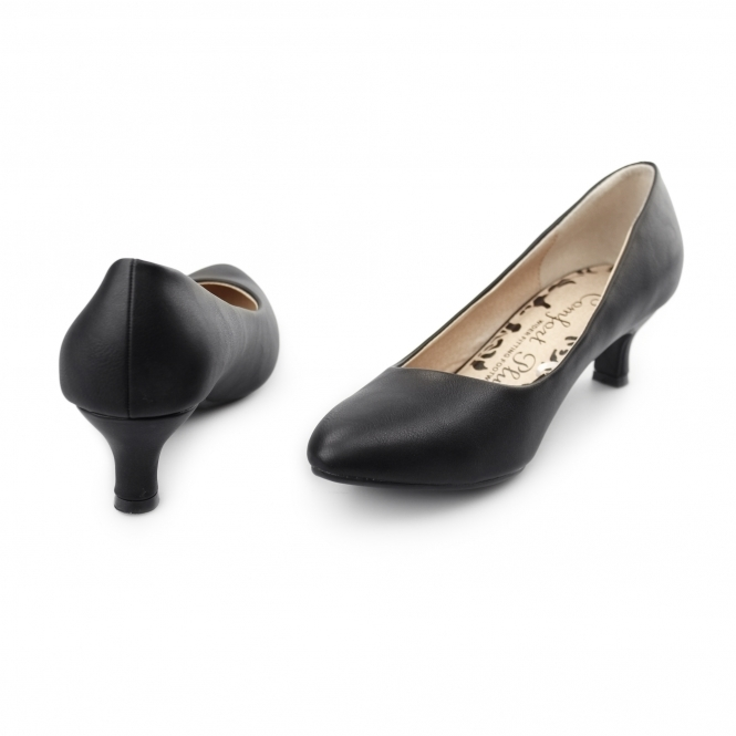 Comfort Plus TEXAS Ladies Faux Leather Court Kitten Heel Black  c2e610384ea0