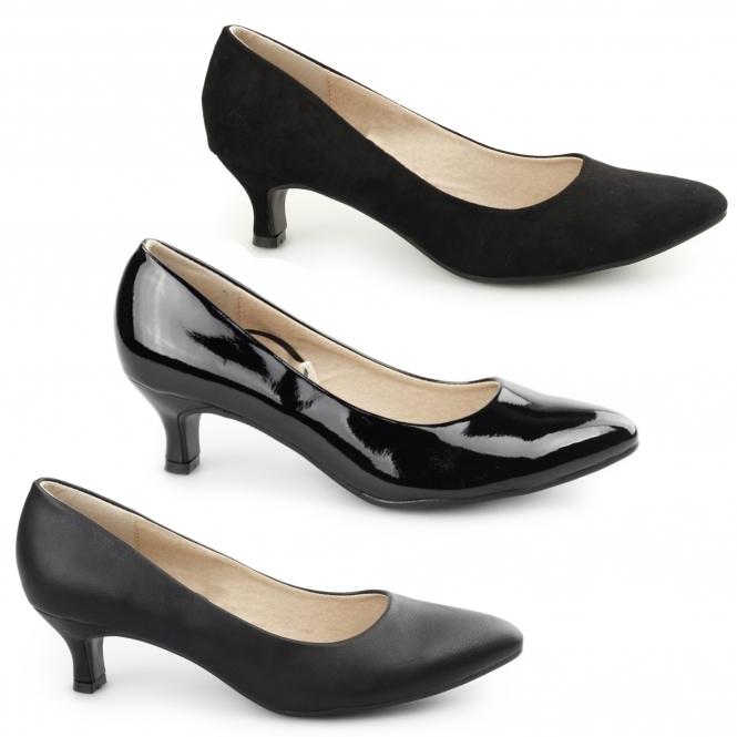 14854cfa065b Comfort Plus TEXAS Ladies Court Kitten Heel Wide Patent Black
