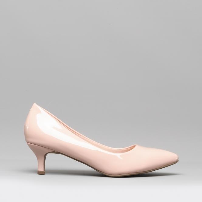 e79690d97c Comfort Plus TEXAS Ladies Court Kitten Heel Wide Patent Nude | Shuperb