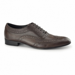 COMMERCE Mens Leather Brogue Shoes Brown