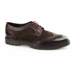 CONFLICT Mens Leather Brogue Shoes Bordeaux/Brown