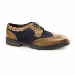 CONFLICT Mens Leather Brogue Shoes Tan/Navy