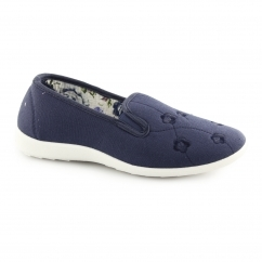 CONNIE Ladies Wide Fit Slip On Loafer Shoes Navy