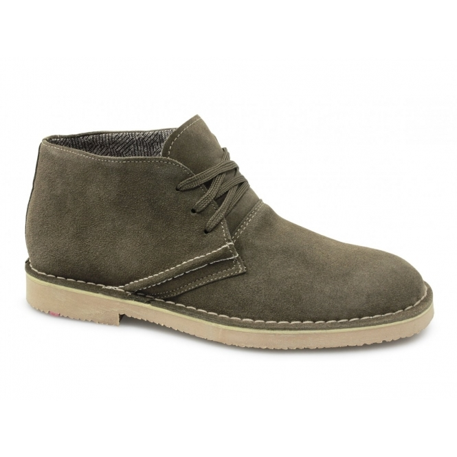 BXT COOK Mens Suede Leather Desert Boots Khaki