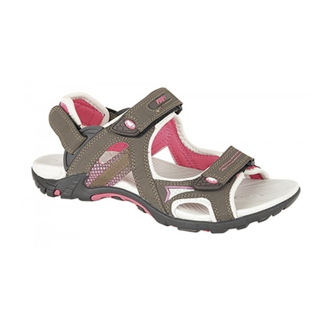 PDQ CORA Ladies Convertible Velcro Sports Sandals Khaki/Fuchsia