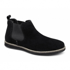 CORRAN Mens Suede Leather Chelsea Boots Black