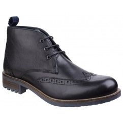 Cotswold AVENING Mens Leather Brogue Chukka Boots Black | Shuperb