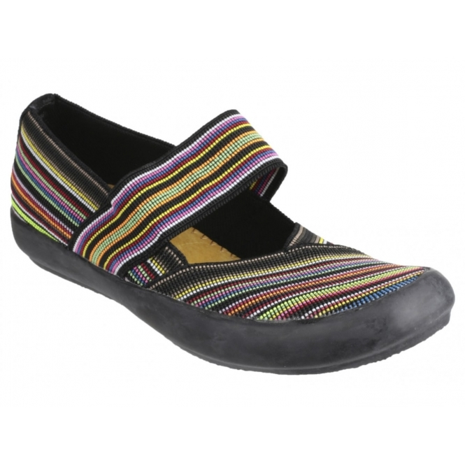 Cotswold CHEDWORTH Ladies Canvas Slip-On Shoes Multi/Black
