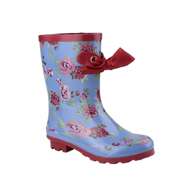Cotswold GATCOMBE Ladies Bow Wellington Boots Blue/Red With Flower