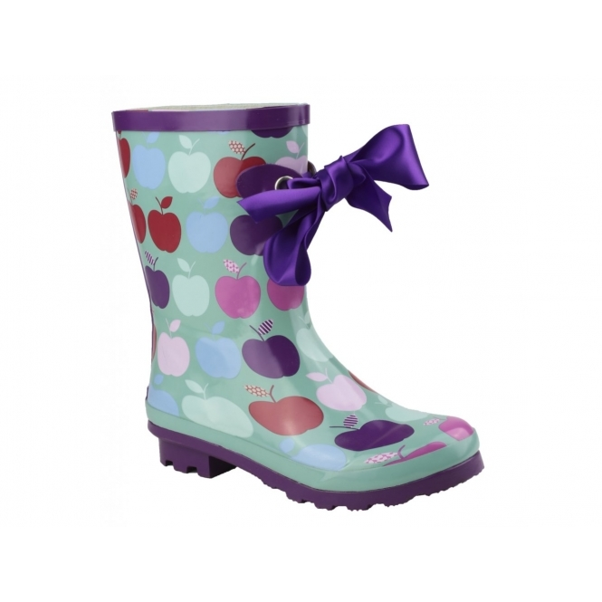 Cotswold GATCOMBE Ladies Bow Wellington Boots Green/Purple With Apple