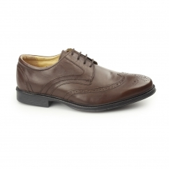 MICKLETON Mens Leather Derby Brogue Shoes Brown
