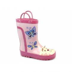 PUDDLE BOOT Girls Animal Wellington Boots Pink