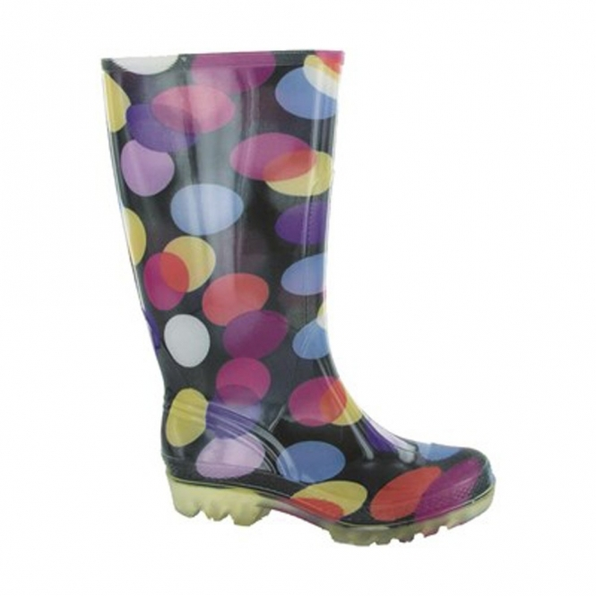 PVC LONG WELLY Ladies Patterned Wellington Boots Spots