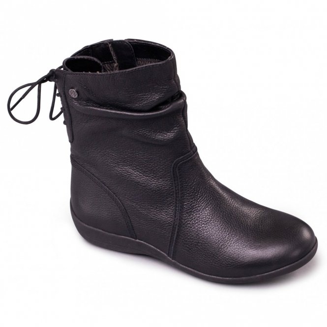 Padders COVENT Ladies Leather Extra Wide Fit Zip/Lace Boots Black