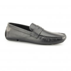CRANFIELD Mens Leather Driving Loafers Black
