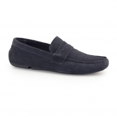 CRANFIELD Mens Suede Driving Loafers Navy