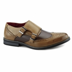 CRISTIANO Mens Double Monkstrap Brogues Tan/Brown