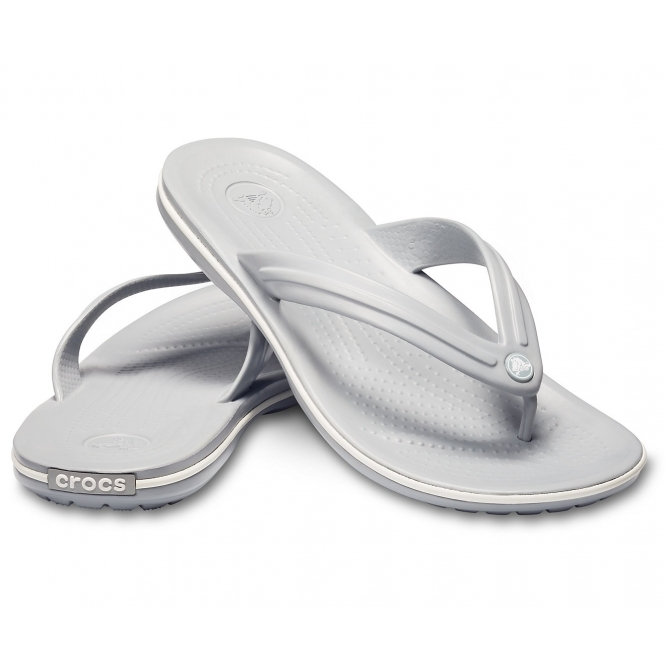 df0a77bfcdc Crocs 11033 CROCBAND FLIP Mens Flip Flops Light Grey White