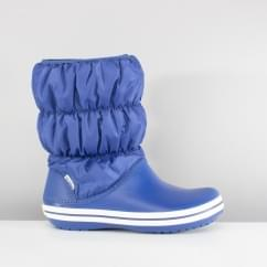 Crocs 14614 WINTER PUFF BOOT Ladies Warm Lined Boots Blue Jean