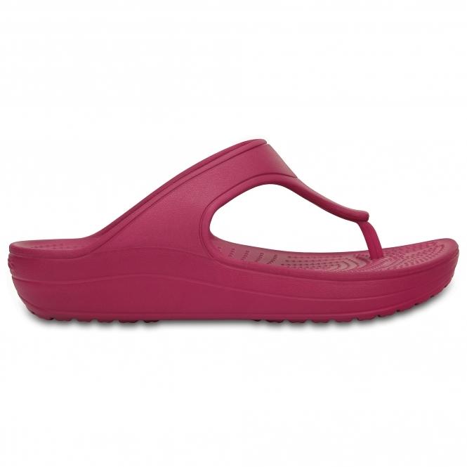 0315a001289 Crocs SLOANE FLIP Ladies Toe Post Platform Flip Flops Berry