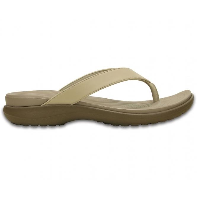 6114ebc02 Crocs 202502 CAPRI V Ladies Flip Flops Chai Walnut