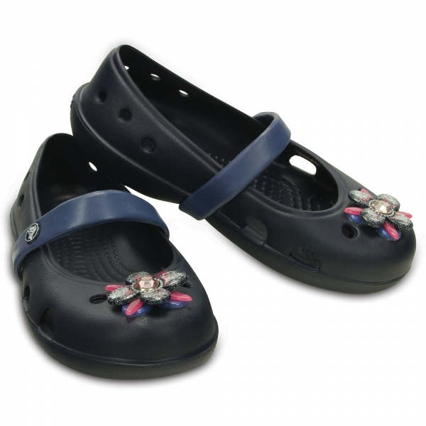 e569ce594 Crocs 202887 KEELEY SPRINGTIME Kids Mary Jane Pumps Navy Bijou Blue