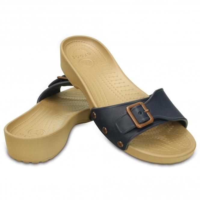 e9a190de20 Crocs 203054 SARAH Buckle Sandals Navy/Gold   Fast & Free Delivery ...