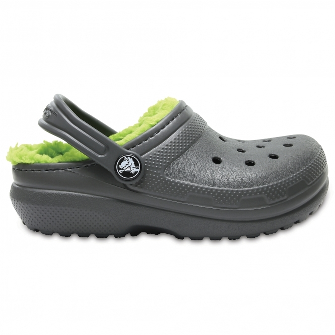 Crocs 203506 CLASSIC LINED Kids Warm Lined Slip On Clogs Slate Grey//Volt Green