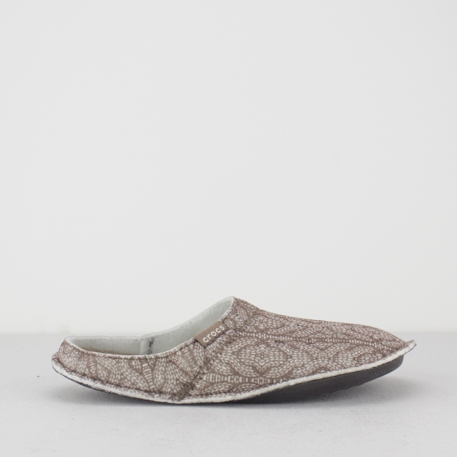 Crocs 203682 Classic Cable Knit Slippers Mule Slippers Stuccowalnut