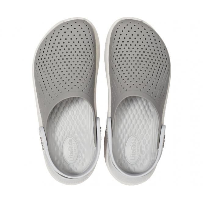 83a990b343e2 Crocs 204592 LITERIDE CLOG Mens Clogs Smoke Pearl White