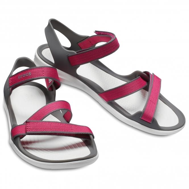 6cd4865940ab Crocs 204804 SWIFTWATER WEBBING Ladies Sandals Paradise Pink Smoke