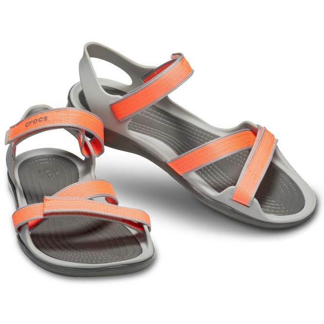 6ea570b8ecc7 Crocs 204804 SWIFTWATER WEBBING SANDAL Ladies Sandals Bright Coral ...