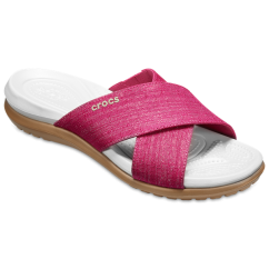 Crocs 204908 CAPRI SHIMMER XBAND Ladies Mules Pink/Oyster