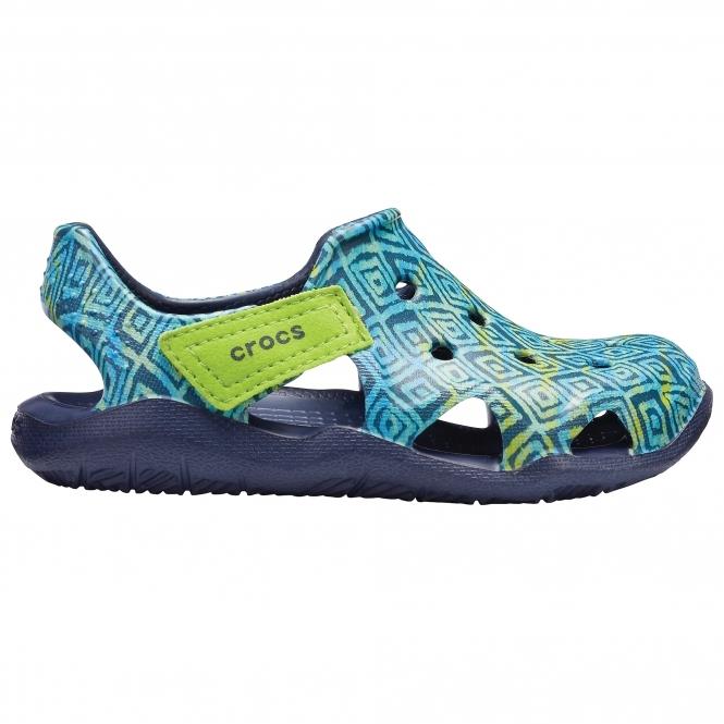 c0723301e Crocs SWIFTWATER WAVE GRAPHIC Kids Croslite Sandals Navy