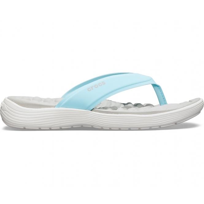 8d3d62ce2221 Crocs 205473 REVIVA FLIP Ladies Flip Flops Ice Blue White