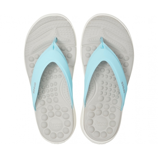 63b1229714ef Crocs 205473 REVIVA FLIP Ladies Flip Flops Ice Blue White